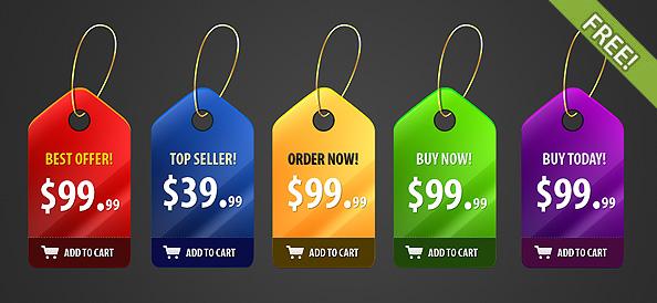 Plantilla PSD de etiquetas con colores para ofertas de productos y precios