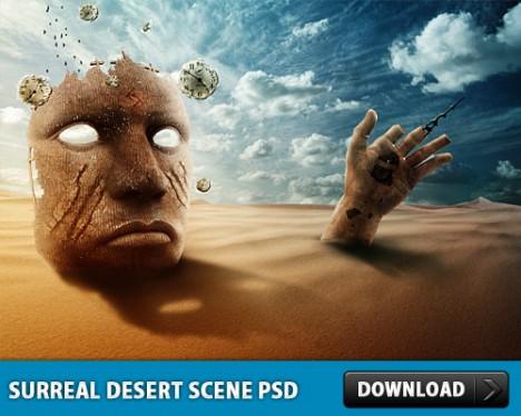 Plantilla de desierto y arena en Photoshop