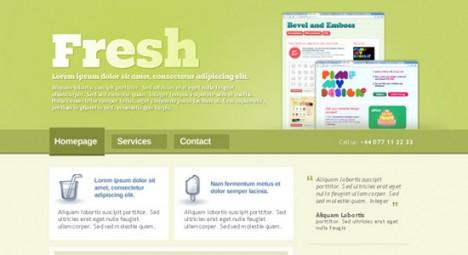 Plantilla fresca para web en Photoshop PSD